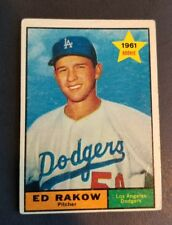 ORIGINAL1961 TOPPS LOS ANGELES DODGERS BASEBALL CARD #147 ED RAKOW EXCELLENT