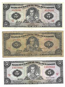 Ecuador 3 pcs. 5 Sucres 1957, 1960, 1975 (P-100a 108a 113a) TDLR + ABNC issues