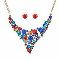 Fashion Crystal Choker Women Chain Pendant Statement Bib Necklace Earrings Set