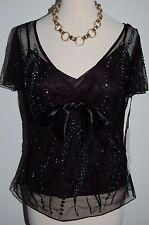 Beautiful Quality Ladies Black 'Arruba'  Top with Beads, Size14 BNWT RRP £95 DD7