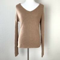 Neiman Marcus Womens Tan Cashmere V Neck Long Sleeve Pullover Sweater Size Large