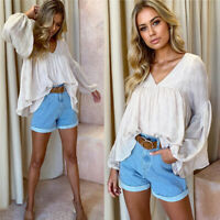 Fashion Women Casual V Neck T-shirt Balloon Sleeve Long Sleeve Solid Tops Blouse