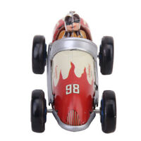 Vintage Retro Style Racing Car Tin Toy w/ Wind-up Key Collectible Adult Toy