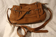 Co Lab Satchel Purse Hand Bag Tan Brown Leather  EUC  2616