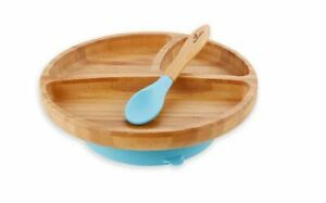 Bamboo Stay Put Suction Baby Plate + Spoon by Avanchy