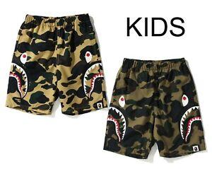 A BATHNIG APE BAPE KIDS 1ST CAMO SIDE SHARK BEACH PANTS 2colors From Japan New