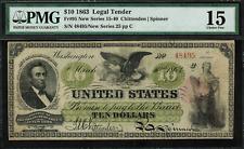 1863 $10 Legal Tender FR-95 - Chittenden / Spinner - Graded PMG 15 - Choice Fine