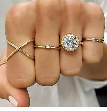 Women Fashion 5Pcs/Set Gold Above Knuckle Finger Ring Band Midi Rings