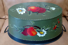 Antique Vintage Metal Wash Tub Tole Hand Painting Art Work - Apples & Daisies