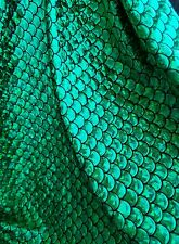 Green Mermaid Fish Scales Fabric by the yard Fish Scales Print on Black Spandex