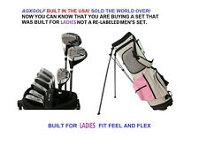 LADIES LEFT HAND TALL PINK COMPLETE GRAPHITE GOLF SET+BAG+HYBRID+IRONS+PW+PUTTER