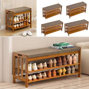 Wood Shoe Bench Shoe Cabinet Storage Organizer Padded Rack Hallway Entryway Seat