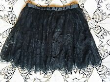 Black delicate scalloped eyelash gothic lolita lace ballerina ballet mini skirt
