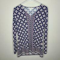 Magnolia Grace Womens Top Geometric Print Long Sleeve Boho Blouse Size Medium