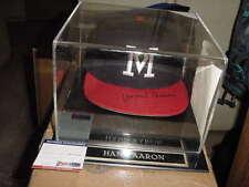 HANK AARON signed AUTO milwaukee BRAVES baseball CAP/hat w/ case PSA/DNA coa