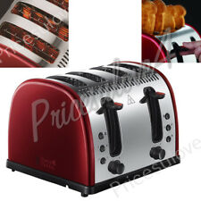 Russell Hobbs 21301 Red Stainless Steel 4 Slice Wide Slot Bread Toaster New