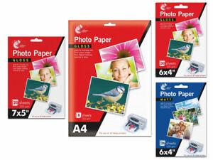 "Photo Paper Sheets 235gsm 7"" x 5"" A4 6"" x 4"" Gloss Matte Inkjet Printer"