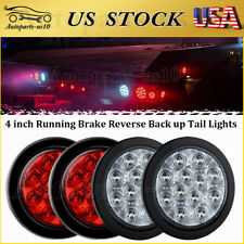 "4 Pcs 4"" Round Sealed LED Trailer Stop Brake Reverse Back Up Truck Tail Lights"