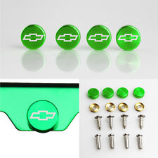 Laser Etched 4 Green Aluminum Chevrolet License Plate Frame bolts Screws Cap