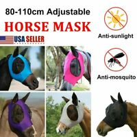 US Adult Horse Fly Masks Full Face Riding Cover Soft Lycra Cotton with Mesh Eyes