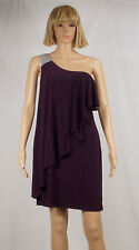 Night Way Size 10 Purple Asymmetric Ruffle Sequin Strap Above Knee Dress NEW