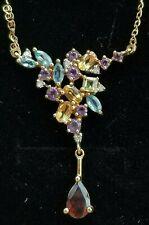 Vintage Topaz Garnet Citrine Peridot Amethyst Diamond 10K Gold Necklace Estate