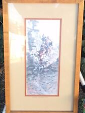 """CHARLES M RUSSELL """"Indian Scouting Party"""" Vintage Print Matted & Framed Wall Art"""
