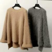 Lady Sweaters Cashmere Fur Pullover Sweater Oversize Loose Stretch Coat Jacket