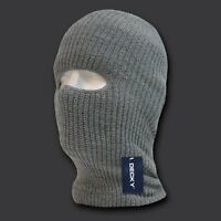 Light Gray Grey 1 Hole Winter Cold Weather Knit Face Mask Stocking Cap Balaclava