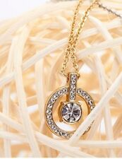 SPARKLING HALO CIRCLE PENDANT 18K GP ROUND DIAMOND CENTERPIECE WEDDING NECKLACE