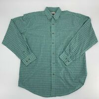 Vintage Wrangler Mens Shirt Button Up Plaid Long Sleeve Size L Green A1