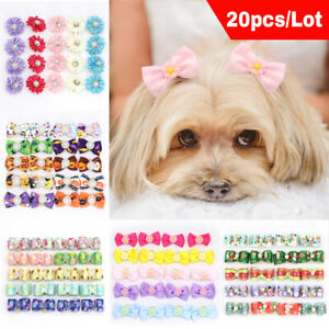 20pcs Pet Dog Hair Bows for Halloween Christmas Party Dog Grooming Accessories