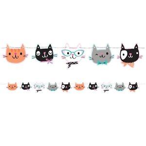 """Purr-fect"" Party Cat Shaped Ribbon Banner 1.7m x14cm -Cat Kitten Party Supplies"