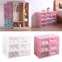 Plastic Drawer Shoe Home Storage Box  Stackable Organiser Transparent Boxs