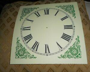 "Large PAPER (CARD) Clock Dial - 6 3/4"" MINUTE TRACK - Green Corners - MATT-Parts"