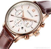 NEW Luxury calendar date quartz Genuine leather band Analog Men's Wrist Watch