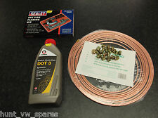 COPPER BRAKE PIPE KIT +NUTS 3/16 & BRAKE FLUID DOT3 1 LITRES COMMA FLARING TOOL