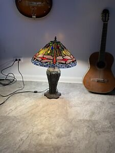 Tiffany Style Table Lamp Bronze Stained Glass for Living Room Bedroom