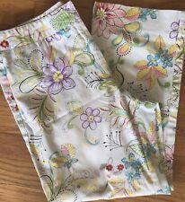 Garnet Hill Capri Cotton Spandex Pants Womens SZ 6P Spring White Floral EUC