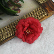 2Pcs Red Peony Flower Hair Clips Brooch Vintage Bridal Wedding Hair Accesories