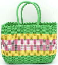 Retro woven shopping basket vintage style green, ochre, pink & white shopper bag