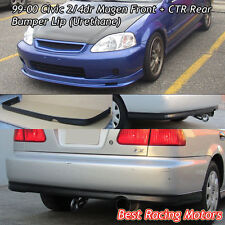 Mu-gen Style Front + CTR Rear Bumper Lip (Urethane) Fit 99-00 Civic 2dr