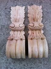 x2 Large Decorative Carved Corbel Wood Raw 11x36cm #1