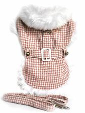 New Size X-Large Pink Houndstooth Faux Fur Trimmed Dog Harness Coat Clothing