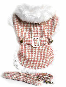 New Size 2X-Large Pink Houndstooth Faux Fur Trimmed Dog Harness Coat Clothing