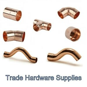 8mm End Feed Fittings Copper Plumbing Straight Coupling Stop End Elbow Tee