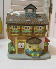 Party Lite Village Flower Shop House Shaped Candle Holder w/White Cat on Roof