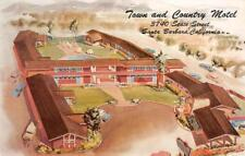TOWN & COUNTRY MOTEL Santa Barbara, California Roadside ca 1960s Postcard
