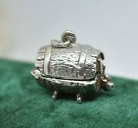 Vintage Sterling Silver charm pendant with Woman in a Barrel Art Deco #O437