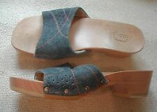 Scholl Ladies Blue denim backless wood sole sandals small heel UK 4 EU 37